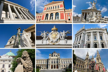 Landmarks of Vienna in a collage