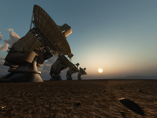 Radio telescope facility in desert