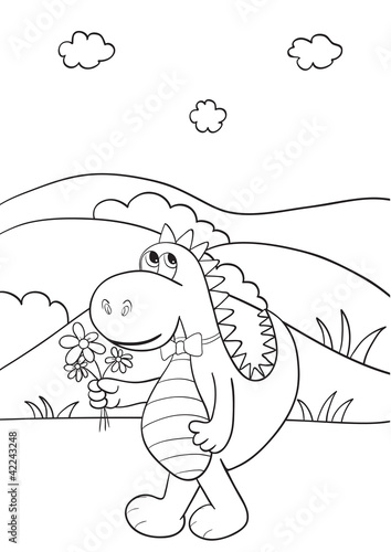 Papiers peints Cartoon draw Coloring book with dragon