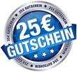 """Button Banner """"25 € Gutschein"""" blau/silber"""