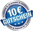 """Button Banner """"10 € Gutschein"""" blau/silber"""