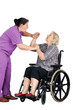 Nurse assaulting senior woman in wheelchair