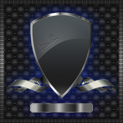 Decorative background with shield and silver ribbon