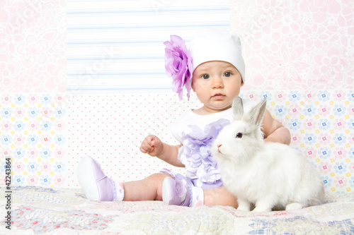 Little girl witn rabbit