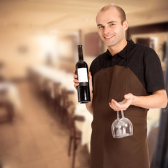 Male restaurant sommelier
