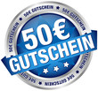 """Button Banner """"50 € Gutschein"""" blau/silber"""