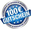 """Button Banner """"100 € Gutschein"""" blau/silber"""