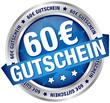 """Button Banner """"60 € Gutschein"""" blau/silber"""