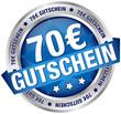 """Button Banner """"70 € Gutschein"""" blau/silber"""