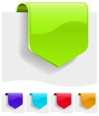Blank discount tags in different color variants.