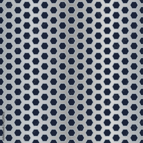Seamless metal hexagon perforated texture.