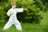 Little boy make karate exercises