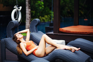 woman in luxury lounger