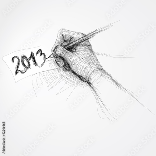 "Hand writes ""2013"" / Realistic sketch (not auto-traced)"