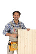 Carpenter pointing to wooden panel