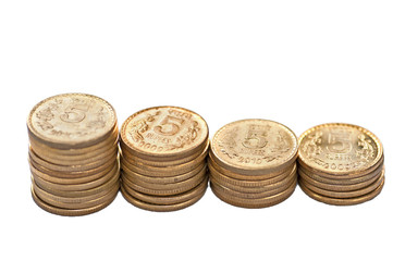 Close up of Indian Coin stack 5 rupees isolated copy space