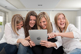 Young friends with pc tablet