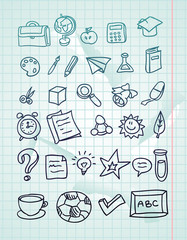 vector icon set - hand drawn school doodles