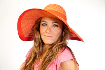 Model With Large Red Hat