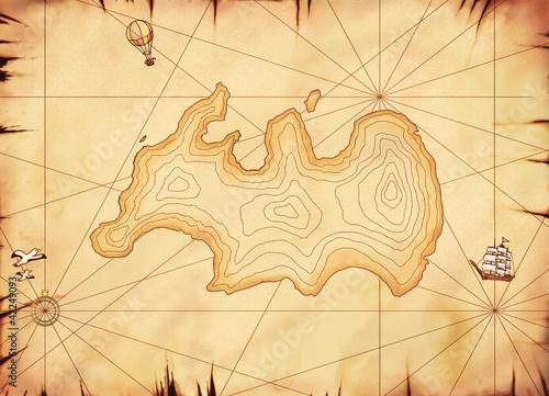 古い宝島の地図 シンプル