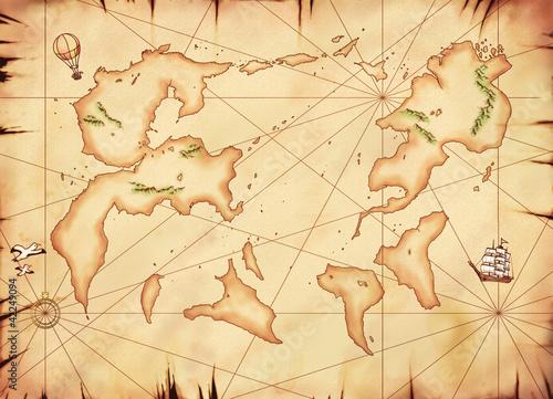 古い別世界の世界地図