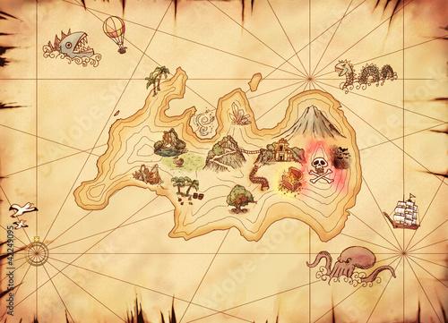 古い宝島の地図 冒険入り