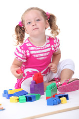 Girl with construction game