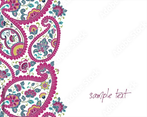 traditional paisley floral pattern , colorful template , India