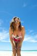 Cute, friendly attractive mature woman at beach