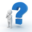 Man with blue question mark on white background