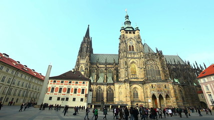 Historical Prague central square with tourist time lapse