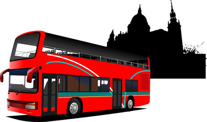 London double Decker  sightseeing red bus. Vector illustration