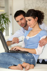 Couple surfing the web