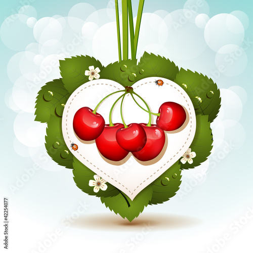 Ripe cherry over heart background with leafs and flowers