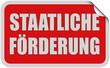 Sticker rot eckig curl oben STAATLICHE FÖRDERUNG