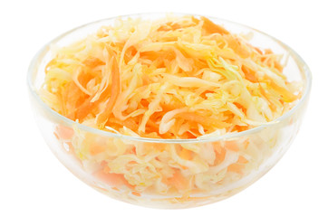 Coleslaw in the glass bowl