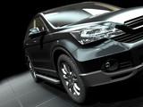 Fototapety car presentation on a stylish metallic grill ground 3d rendering