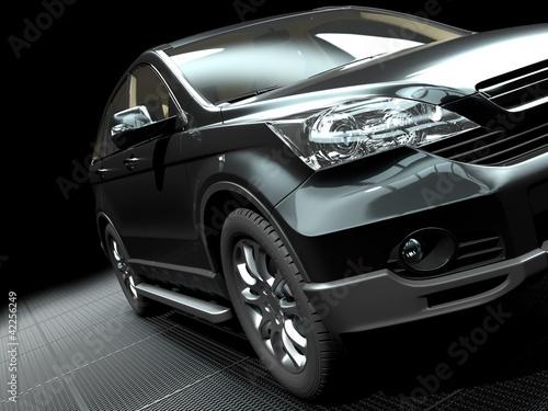 prezentacja-samochodu-na-stylowych-metalicznych-grill-ziemi-renderowania-3d