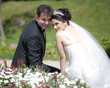 bride and groom at a park 4