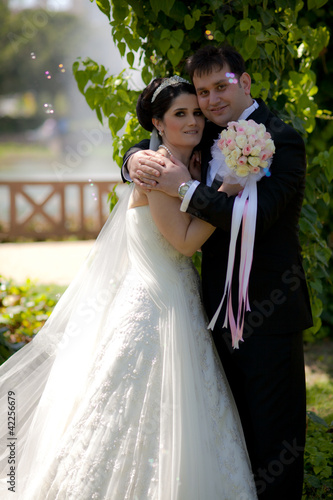 bride and groom at a park
