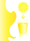 Lemon juice in a glass with copy space.