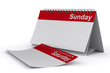 Calendar for sunday on white background. Isolated 3D image