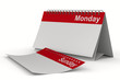 Calendar for monday on white background. Isolated 3D image