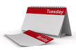 Calendar for tuesday on white background. Isolated 3D image