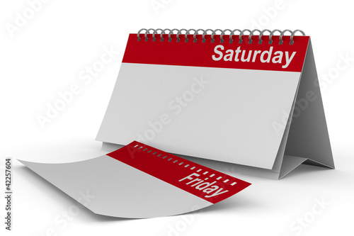 Calendar for saturday on white background. Isolated 3D image