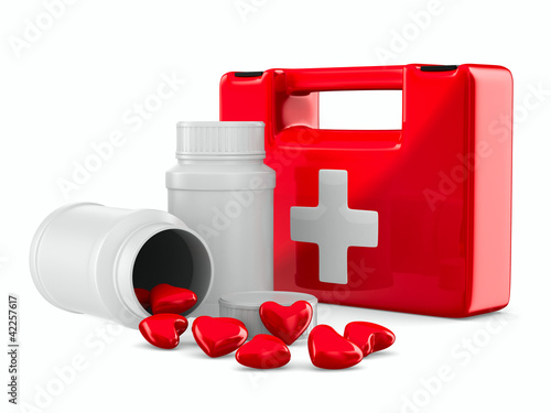 first aid and hearts on white background. Isolated 3D image