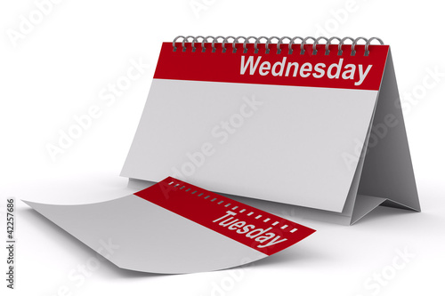 Calendar for wednesday on white background. Isolated 3D image