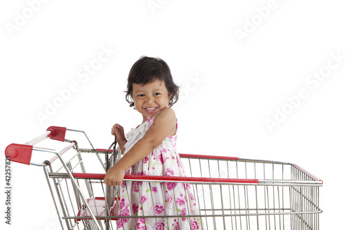 Cute girl in shopping cart