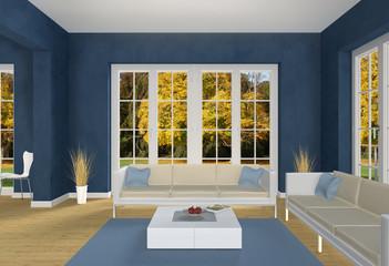 Blaues Wohnzimmer Herbst