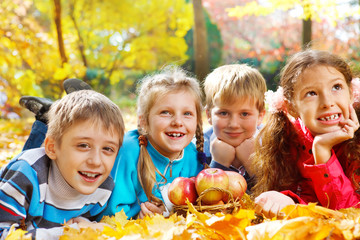 Kids group in autumn park